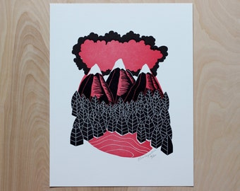 Alpenglow Alpine Mountain Letterpress Print | On Sale | Home Decor | Forest Print | Block Print | Mountain Art | Lodge Decor | Woodland Art