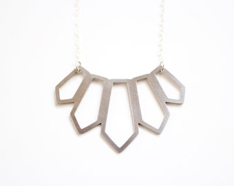 Tribal Graduated Spike Necklace - Gold or Silver