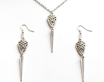Tribal Teardrop Spike Earrings