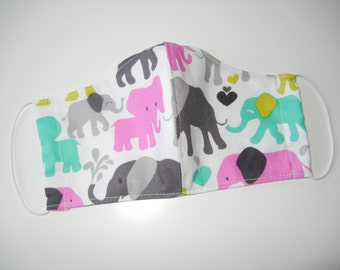 Fabric Surgical Face Mask in Pastel Elephants