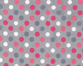 Spot On Fabric, Polka Dot fabric, Pink Polka Dot, Baby girl fabric, Nursery fabric, Quilt fabric, Dot in Silver, Cotton Fabric by the yard