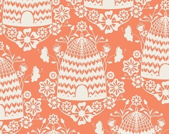 SALE Sweet as Honey fabric, Bee fabric by Bonnie Christine for Art Gallery, Coral fabric, Honey House in Peach, Choose the cut