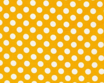 Sale Fabric, Spot on Polka Dot fabric, Quilt fabric, Cotton Fabric by the Yard, White and Yellow fabric, Robert Kaufman, Choose your cut