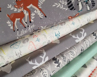 Hello Bear fabric bundle by Bonnie Christine for Art Gallery Fabrics, Deer fabric, Bundle of 7- You Choose the Cut, Free Shipping Available