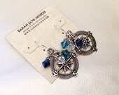 Seattle Mariner's compass earrings, Mariners jewelry, Mariner's earrings, blue and teal, baseball jewelry, baseball earrings, compass charms