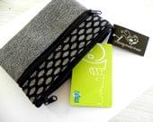 Handmade double zipper purse wallet pouch organiser in black and grey featuring oval dots