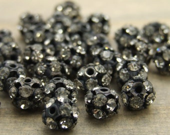 6mm Oxidized Silver Rhinestone Beads - 6+ pcs - Oxidized Silver - Patina Queen