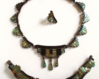 Vintage Abalone Necklace and Bracelet Set, Sterling, Taxco, Mexico