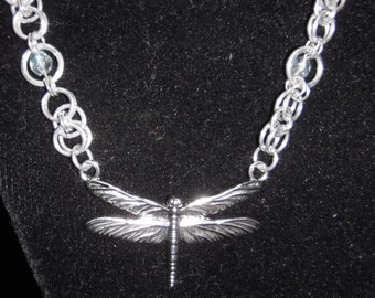 Chainmail and Crystal Dragonfly Necklace