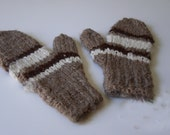 100 % APACA handspun - hand knit MITTENS, thick, soft, warm.  Natural colors -  beautiful tan brown white - Large - Long cuffs