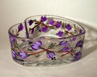 Hand Painted Purple Flower Heart Shaped Candy Dish