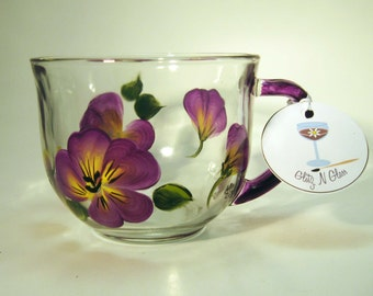 Hand Painted Pansy Tea Cup