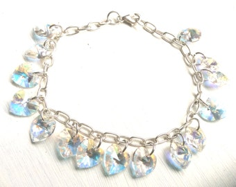 Bracelet, crystal jewellery, Swarovski crystal, hearts, sterling silver, ladies gift