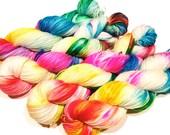 Hand Dyed Yarn – Superwash Merino Wool Cashmere Nylon MCN Sock Yarn  - Neon Rainbow - 400 Yards – Fingering Weight Yarn