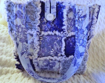 Rag Quilt Tote - Vintage Chenille - Periwinkle Blue Floral - Purple - Spring Summer Tote - Blue Rag Tote - Blue Chenille Tote - Mother's Day