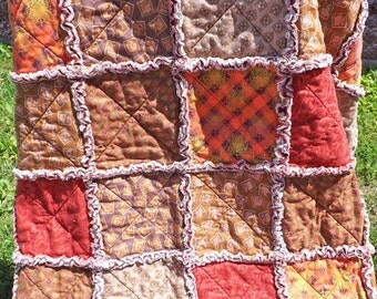 Rag Quilt - Autumn Colors Rag Quilt - Rag Lap Quilt - Fall Colors - Handmade