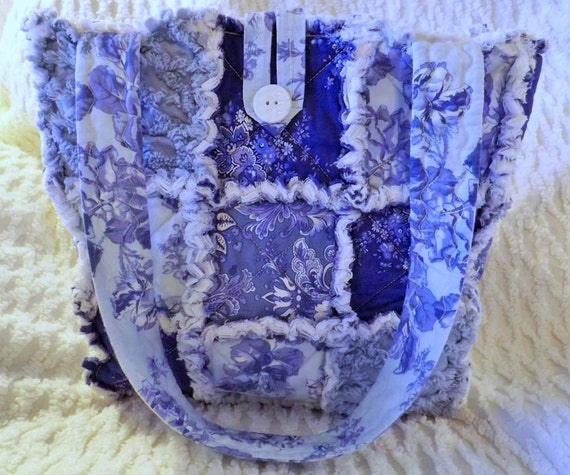 Vintage Chenille Rag Quilt Tote -  Periwinkle Blue Floral - Purple - Spring Summer Tote - Blue Rag Tote - Blue Chenille Tote