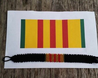 Custom Made Military Service Bracelets - Vietnam Service Ribbon Bracelet  - Bead Weaving - Beaded Bracelet