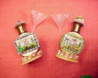 2 Mermaid King Neptune Perfume Bottles Intaglio handpainted Sea Shell Jan Carlin