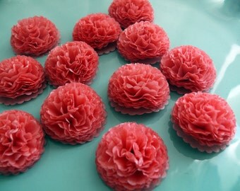 1 Inch Button Mums Tissue Paper Flowers  Coral Wedding, Bridal Shower, Baby Shower Decor, Coral Pink, Coral Flowers