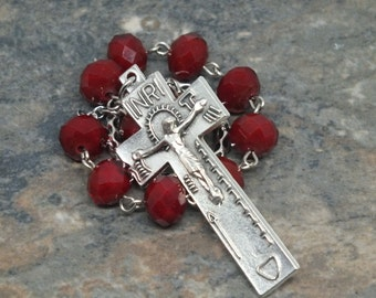 Crystal Irish Penal Chaplet in Dark Red; 1 Decade Chaplet; Catholic Chaplet; Tenner Chaplet; Crystal Chaplet