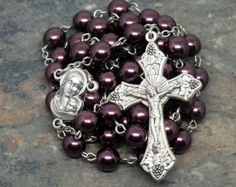 Glass Pearl Rosary in Plum/Purple, 5 Decade Rosary