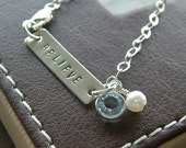 """Personalized Bar Bracelet - Custom Sterling Silver Hand Stamped Jewelry - """"Believe"""" Inspiration Bracelet with Birthstone and Pearl"""