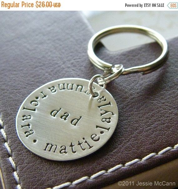 Valentines Day Sale Custom Keychain - Personalized Hand Stamped Sterling Silver Key Chain - Perfect Gift for Father's day