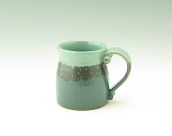 Handmade Pottery Coffee Mug - Stout and Sturdy Bell Bottom 14 oz. Stoneware Beer Mug - Sea Mist & Dk Teal Soup Mug, Great for Home or Office