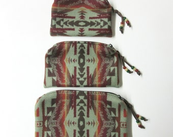 Gift Set of 3 Wool Zippered Pouches Purse Organizers Travel Bags Southwestern Print Wool from Pendleton Oregon