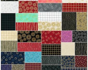 "SQ62 Robert Kaufman SPARKLE Precut 5"" Charm Pack Fabric Metallic Quilting Cotton Squares Studio RK CHS-405-42"