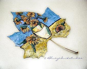 Remembering VIncent Van Gogh, SUNFLOWERS, original painting, autumn leaf, fine art