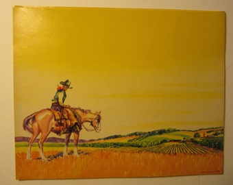 Old 1940's -  Western Cowboy on Horseback  - STOCK LABEL