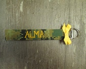 Military Wristlet, Marine Custom Name Tape Key Chain, US Marine Corps Personalized Military Keychain, Marine Key Fob