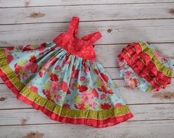 Girls Dress-Baby Dress-Ready to Ship-Size 6-9 Month-Open Back Ruffle Dress- Baby Ruffle Dress-Baby ruffle diaper cover-Baby Clothing-Dress