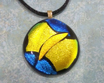 One of a Kind Pendant, Sparkly Yellow, Orange, and Blue, Fused Glass Jewelry - Against All Odds- 2658-6