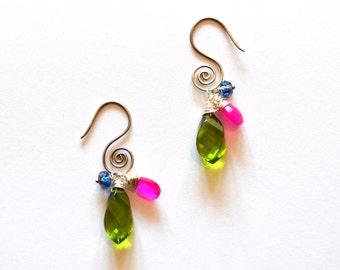Silver Swirl Earrings / Silver Swirl Green Pink Blue Earrings / Sterling Silver Swirl Cluster Green Fuchsia and Blue Gemstone Earrings