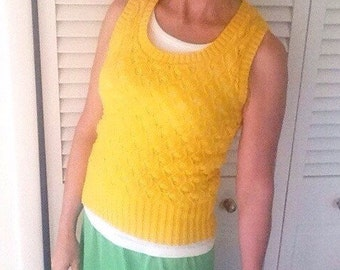 Vintage bright yellow sweater vest small unisex cable knit fisherman hipster winter pullover retro womens mens