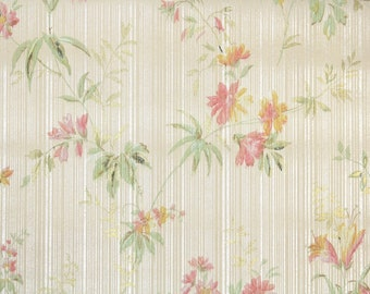 1930s Vintage Wallpaper - Pink and Yellow Antique Floral Wallpaper