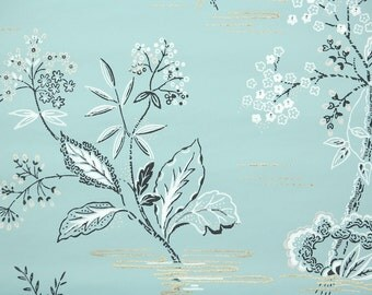 1950's Vintage Wallpaper - Retro and Kitsch Black and White Flowers on Blue