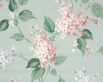 1940s Vintage Wallpaper by the Yard - Pink and Gray Flowers on Blue