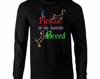 Long Sleeve Rescue is My Favorite Breed Art T-Shirt