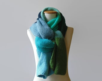 Knit Shawl, Statement Scarf, One of a Kind, Wrap Scarf, Hand Knitted Scarf, Green Blue, Wool Scarf, Long Scarf, Mens Scarf, Womens Scarves