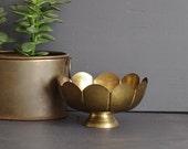 Brass Rose Bowl, Brass Scalloped Bowl, Brass Bowl