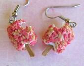 Christmas in July - Strawberry Shortcake Ice Cream Earrings, Food Jewelry