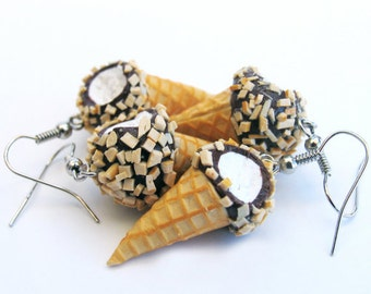 Drumstick Ice Cream Cone Earrings, Ice Cream Earrings, Food Jewelry, Miniature Food, Clay Food, Ice Cream Jewelry
