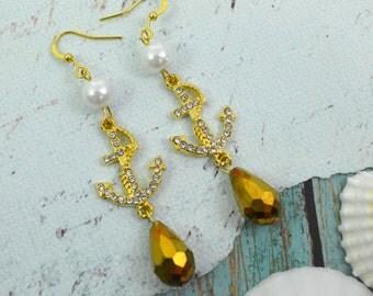 GOLDEN ANCHORS-Gold Rhinestone Pearl Charm Crystal Earrings