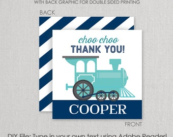 Blue Choo Choo Train Party Square Gift Tag Set - Printable DIY with fully editable text
