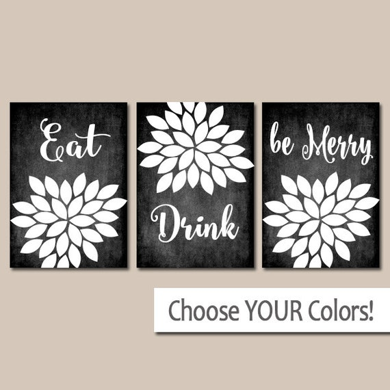 Eat drink be merry wall art kitchen artwork canvas or prints - Kitchen canvas wall decor ...