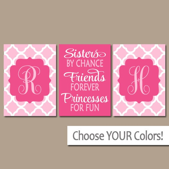 Sisters Wall Art Quote Artwork Shared Girl Bedroom Pictures